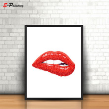 цена Hello Beautiful Poster Fashion Red Lips Print Lipstick Print Make Up Bathroom Decor Wall Art Decoration Picture Canvas Painting онлайн в 2017 году