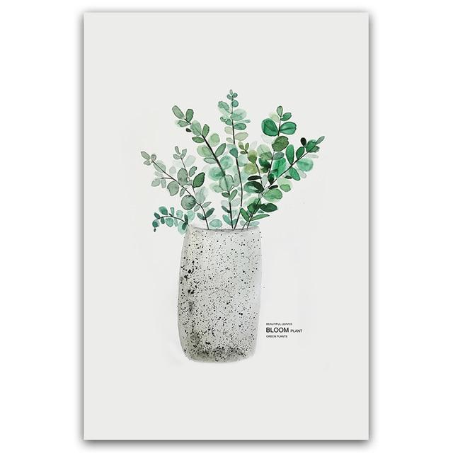 HTB1jsbKVVzqK1RjSZFoq6zfcXXai Simple Watercolor Vase Green Plant Art Poster Wall Art Print Canvas Painting Picture Modern Home Living Room Decoration Custom