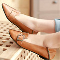 black brown pointed toe pu leather women flat shoes for autumn size EU34-43 low heels woman shoes with buckle sapato feminino