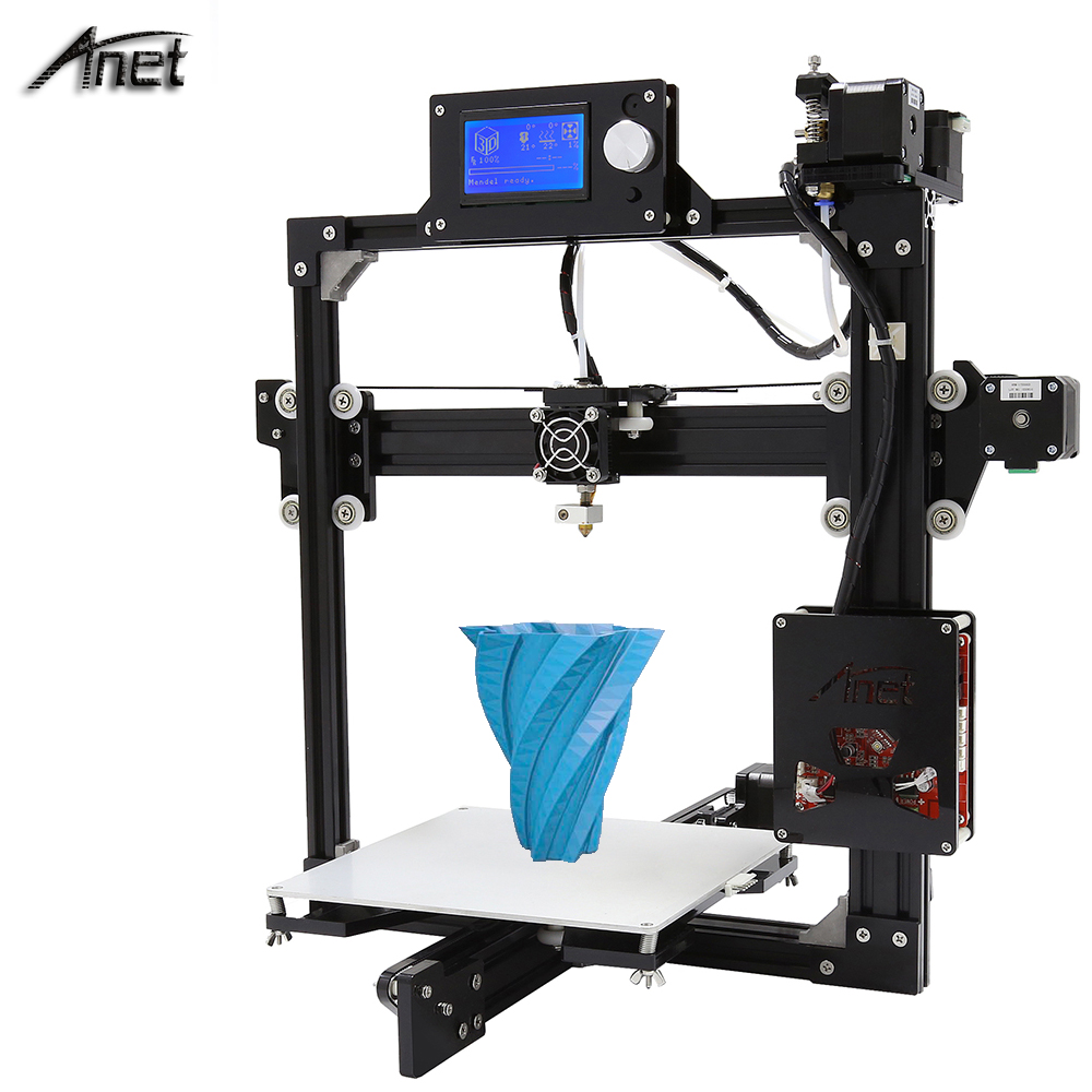 Newest ! Anet A2 Aluminium 3D Printer Big Size High Precision 3D Printer Kit Reprap Prusa I3 Gift 10M Filament 8G SD Card Tools 2016 upgrade free shipping 3d printer high precision reprap prusa i3 220 220 240mm 3d printer diy kit 0 5kg filament 8g sd card