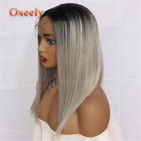 Oxeely Grey Bob Synthetic Lace Front Wig Short Straight Hair Ombre Lace Front Wigs For Women Dark Roots Heat Resistant Fiber