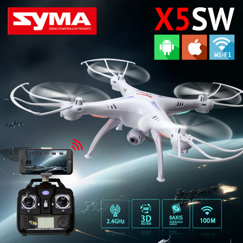 Original SYMA X5SW WIFI RC Drone fpv Quadcopter with HD Camera 2.4G 6-Axis Real Time RC Helicopter Quad copter Toys+4pcs motor super speed v0169 fashionable silicone band men s quartz analog wrist watch blue 1 x lr626