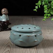 Longquan Celadon Ceramic Porcelain Incense stove Lotus shape Burner Holder Furnace Buddha Censer Sticks incense coils