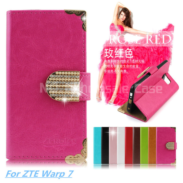 Wallet Bling PU Leather Case For ZTE Warp 7 N9519 Phone Bag Rhinestone Flip Cover With Card Slot Free DHL