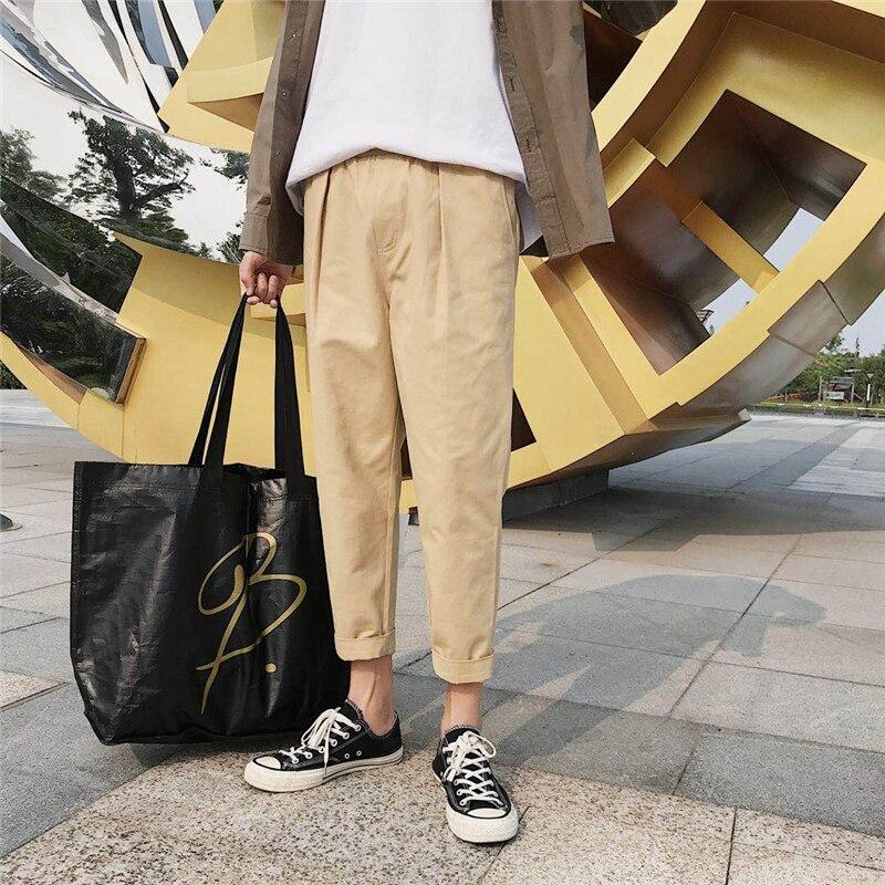 a104d6136d3 Aliexpress.com   Buy 2018 Summer Korean Style Men s Fashion Trend Loose  Casual Pants Elastic Waist Cotton Black khaki Color Trousers Size M 2XL  from ...