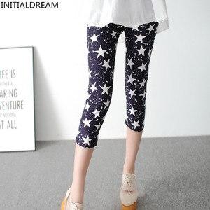 Image 3 - INITIALDREAM Leggings dété pour femmes, pantalons élastiques à taille haute, imprimés, imprimés, élastiques