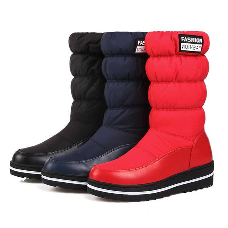 Odetina Kış Kar Botları Kadın Sıcak Peluş Aşağı Orta Buzağı Çizmeler Bayanlar 2018 Moda Yuvarlak Ayak platform ayakkabılar kısa çizmeler Siyah