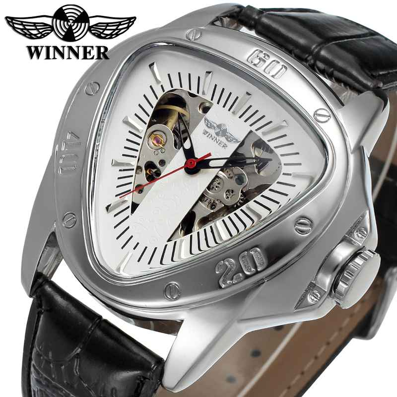 Unique Triangle Full Steel Luxury Luminous Automatic Mechanical Skeleton Dial Leather Band Wrist Watch Men Women Best Gift M141 2017 hot sale luxury luminous automatic mechanical skeleton dial stainless steel band wrist watch men women best christmas gift