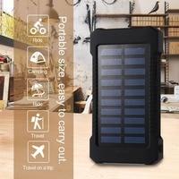 Draagbare Zonne-energie Bank 30000 Mah Waterdichte Externe Batterij Backup Powerbank 30000 Mah Telefoon Batterij Oplader Led Pover Bank
