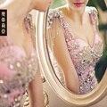 Banquete de luxo V Neck Beading Cristal Rosa Sereia Vestidos de Noite Longo Rabo de Peixe Vestido de Baile Das Mulheres Vestidos Formais