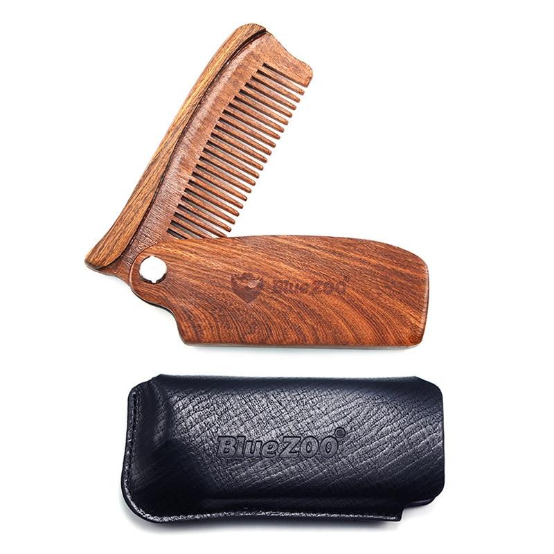Men Moustache Beard Black Gold Sandalwood Portable Folding Anti-Static Comb With PU Bag Pocket Wood Comb