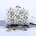 Iovry Fashion Handmade Pearl Flap Small Beading Party/wedding Bags Diamonds purse day clutches Chain shoulder Bags women Cluthes