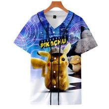 NEW Anime Movie Pokemon Detective Pikachu lovely 3D print Short sleeve baseball uniform Men/Women Casual jacket Clothes