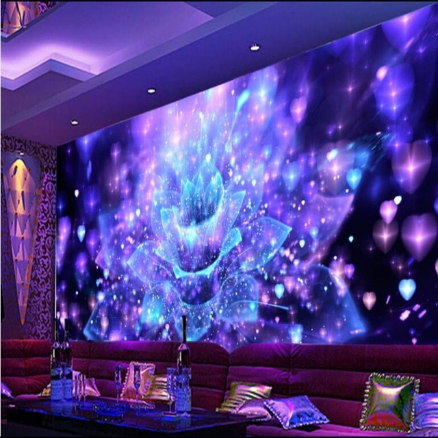 Beibehang Personalized 3D Stereo Wallpapers Cool Nightclubs Flower Bar TV Living Room Background Papel