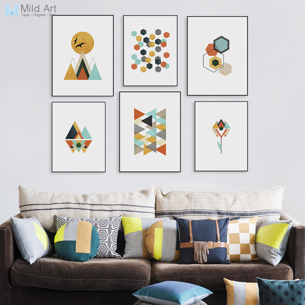 Wall Art Prints And Posters Us 3 64 48 Off Modern Abstract Color Geometric Mountain Posters Prints Nordic Living Room Wall Art Pictures Home Decor Canvas Painting No Frame In