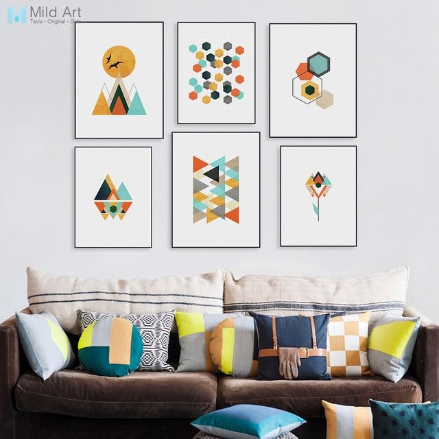 Moderne Abstrakte Farbe Geometrische Berg Poster Druckt Nordic Wohnzimmer  Wandkunst Bilder Wohnkultur Leinwand Malerei Kein Rahmen