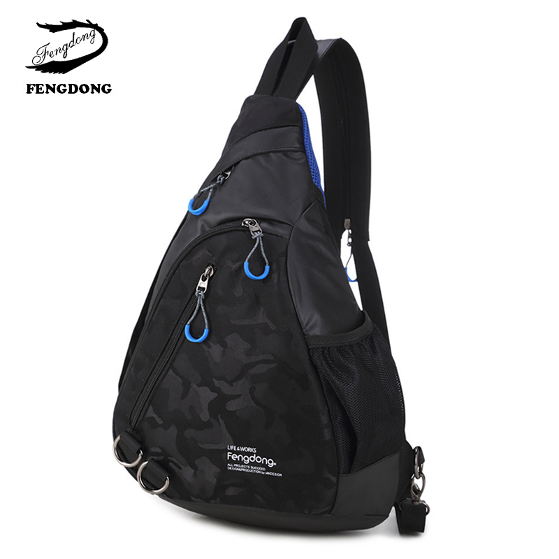 Fengdong New Casual Men Chest Bag Waterproof Nylon Men Cross Body Messenger Shoulder Bag Fashion Travel Chest Back For Men ivotkova men nylon bag 2017 new fashion men s shoulder