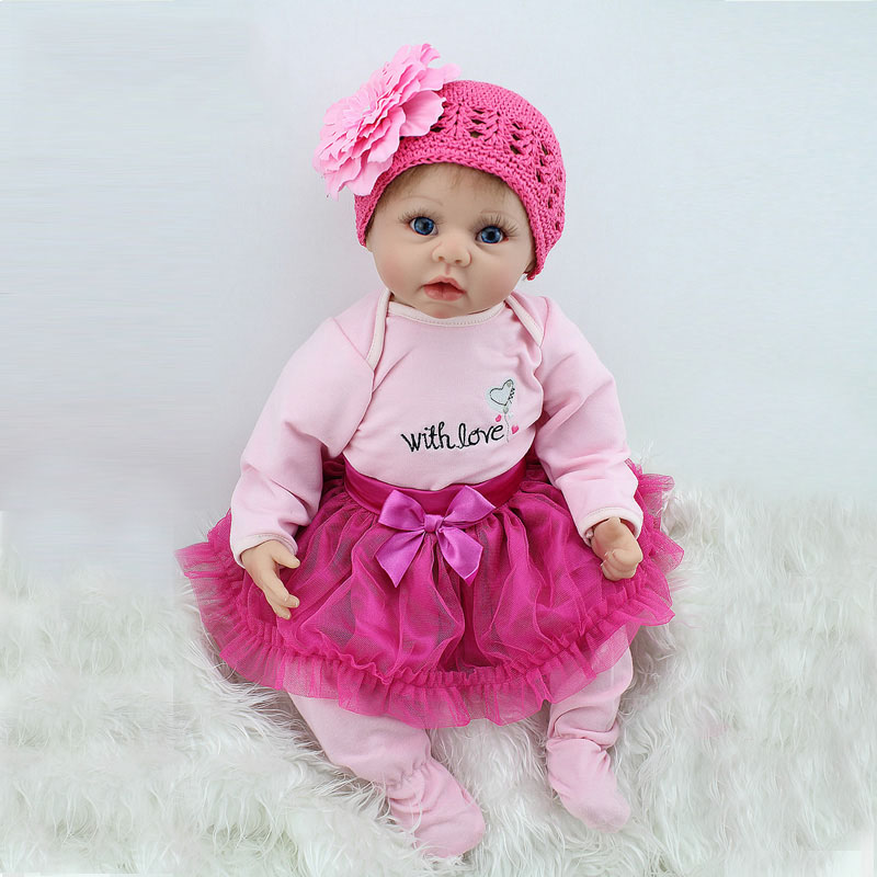 22inch 55cm Silicone baby reborn dolls, lifelike doll reborn babies toys for girl pink princess gift brinquedos for kids free shipping hot sale real silicon baby dolls 55cm 22inch npk brand lifelike lovely reborn dolls babies toys for children gift