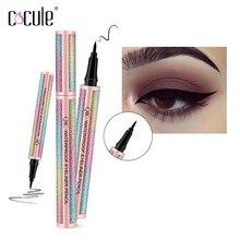 2 in 1 sıvı Eyeliner kalem göz kalemi su geçirmez kalem uzun ömürlü sıvı Eyeliner makyaj kozmetik pırıltılı renk göz astar