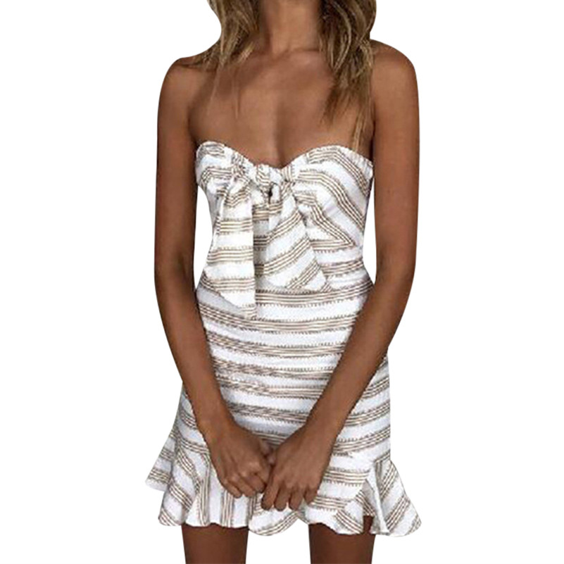 Sexy Summer Striped Strapless Dress Women 2018 Chic Off The Shoulder Mini Party Dress Ladies Slash Neck HIgh Wasit Vestidos F3