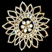 10Pieces Flower Silver Glass Rhinestone Applique Strass Crystal Clear For Wedding Dresses Costume Decoration