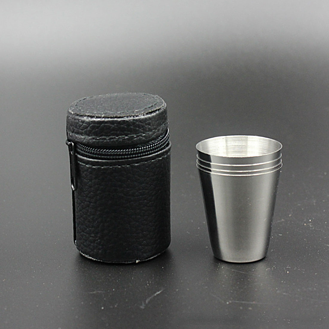 4Pcs Outdoor Camping Stainless Steel Mini Cup Mug Drinking Coffee Beer With Case Camping Equipment