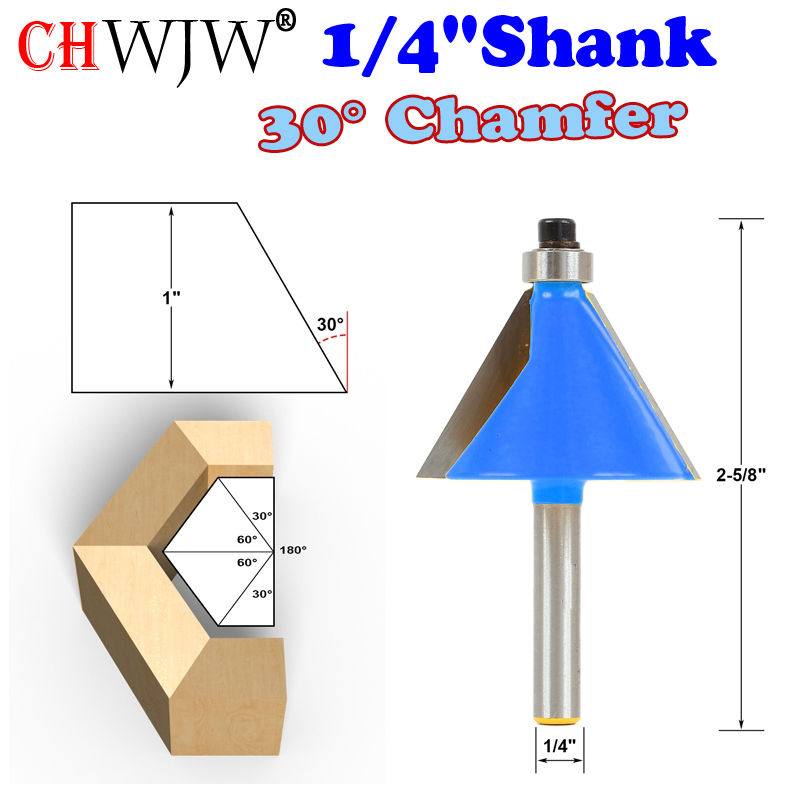 цена на 1pc 1/4 Shank 30 Degree Chamfer & Bevel Edging Router Bit woodworking cutter woodworking bits - Chwjw-13905q