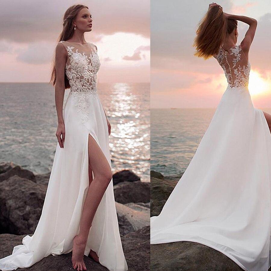 Pretty Chiffon Bateau Neckline See-through Bodice Slit A-line Wedding Dress With Beaded Lace Appliques Beach Bridal Dress