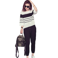 Women S Knitted Striped Top With Black Ankle Length Pants Two Piece Outfit Suit Fashion Casual