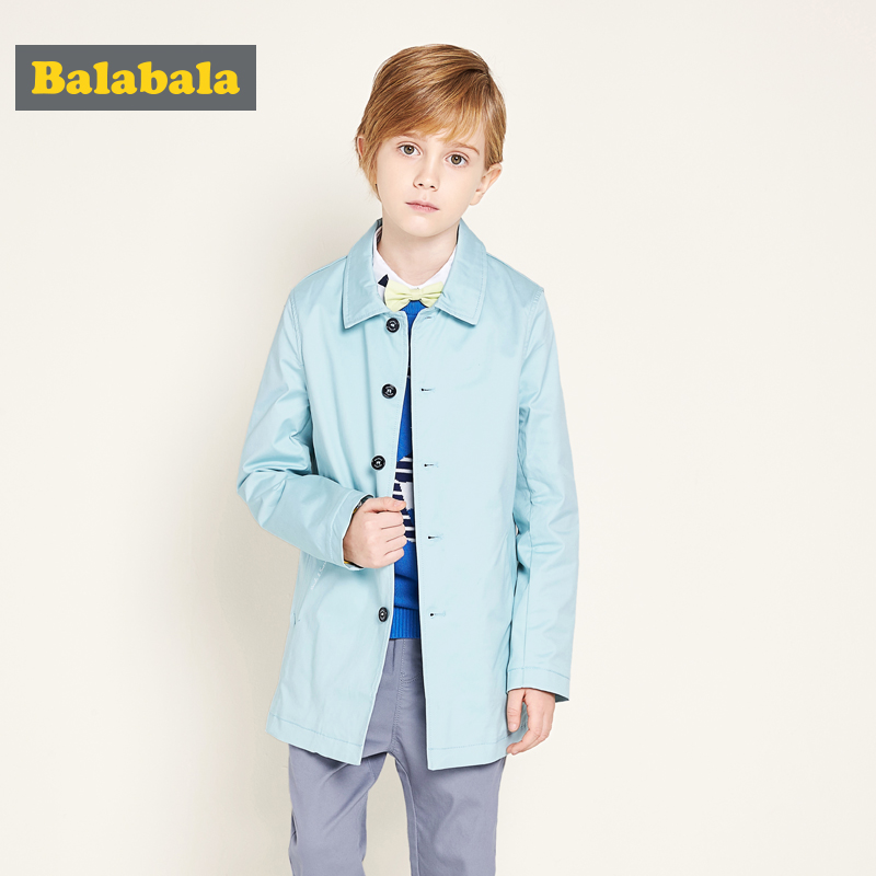 Balabala Children's clothing baby boys coat 2017 new Windbreaker in the spring and autumn long fashionable jacket купить дешево онлайн