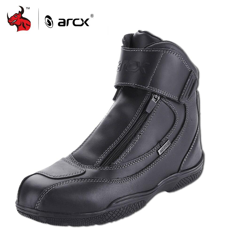 ARCX Moto bottes véritable cuir de vache imperméable Moto bottes Moto équitation chaussures Motocross hors route bottes de course #