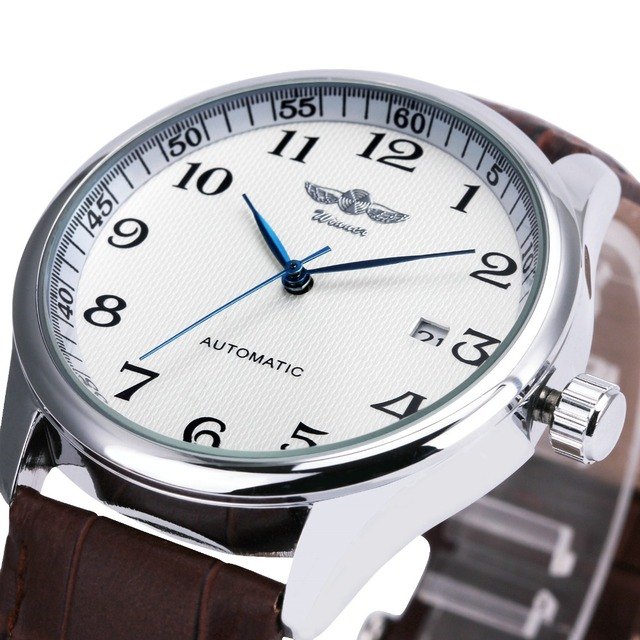 2016 WINNER Fashion Men Automatic Wrist Watch Leather Strap Male Mechanical Clock Concise Dial with Calendar Date Christmas Gift