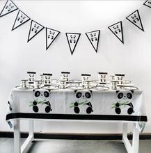 White black Lovely Cartoon panda theme diaposable tableware set for baby kids girls boys birthday party supplies decoration fav