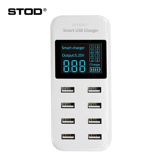 STOD Smart USB Charger LED Display 8 Port 40W Fast Charging For iPhone iPad Samsung Huawei Nexus ZTE Xiaomi Oneplus AC Adapter