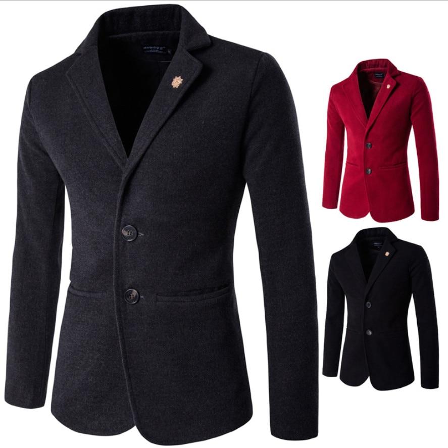 2018 New Arrival Men's Formal Classic Woolen Business Jacket - Black / Gray / Re