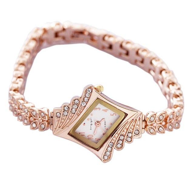 Rose Gold Leaf Buds Strap Metal Ladies Dress Watch Stylish Women Bracelet Watche