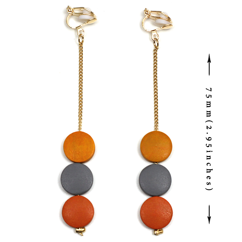 Multicolor Wooden Beads Earring No Hole Ear Clips Color Matching Wood Clip On Earring Without Piercing Minimalist Earrings CE359 in Clip Earrings from Jewelry Accessories