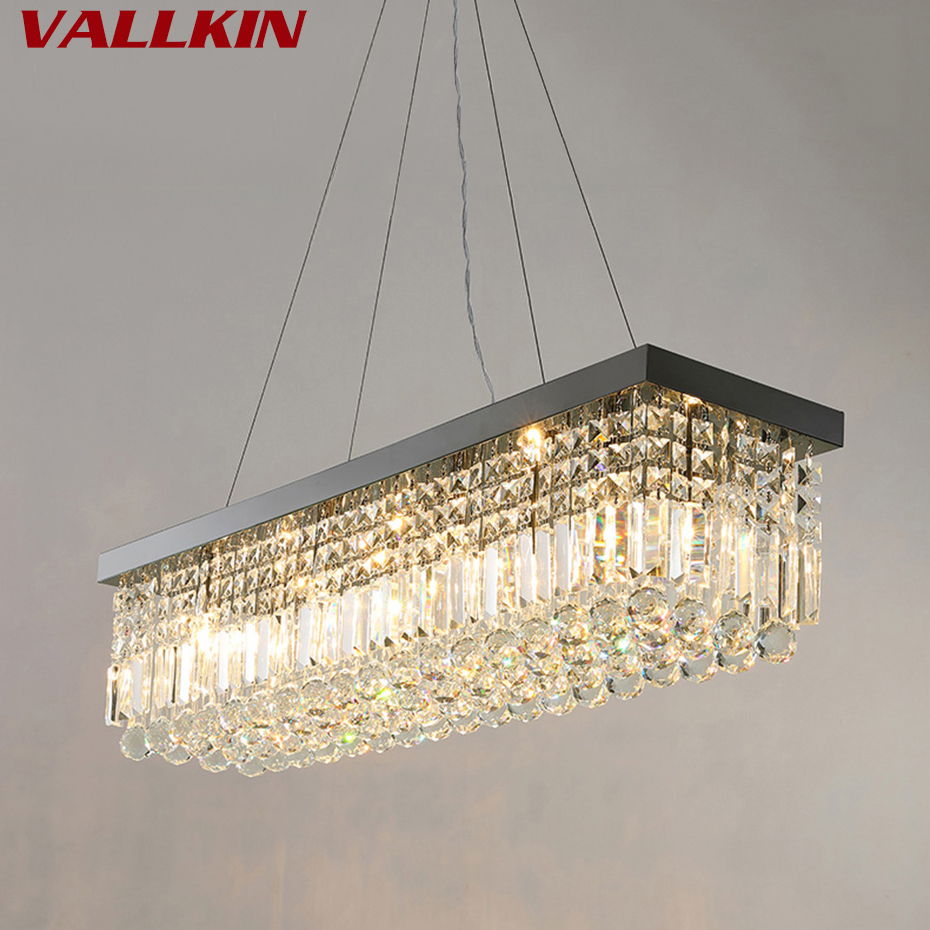 Rectangle LED Crystal Chandeliers Lighting Light Contemporary Hanging Lights Lamp Fixtures with L100*W25CM VALLKIN Lighting best price rectangular crystal chandeliers k9 crystal ceiling lamp lighting fixtures restaurant led lighting e14 free shipping
