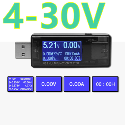 Multifunction 4-30V  Digital  LCD display  USB Power Bank Charger Capacity Current Voltage meter USB Testers dc 4 30v digital display usb charger voltage multimeter battery test doctor mobile power detector current meters
