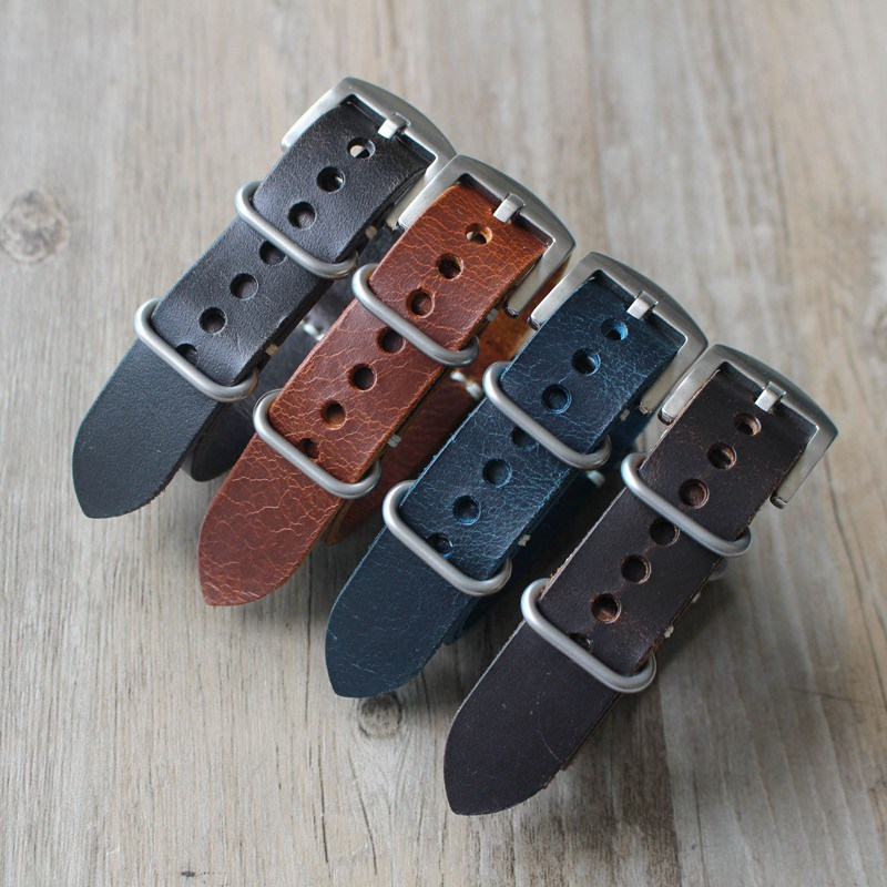 NATO Watchband Oil Wax Leather Strap, 20 22 24mm Retro NATO Leather Watch Strap, Blue Grey Brown Men's Watch Band Leather Strap цена