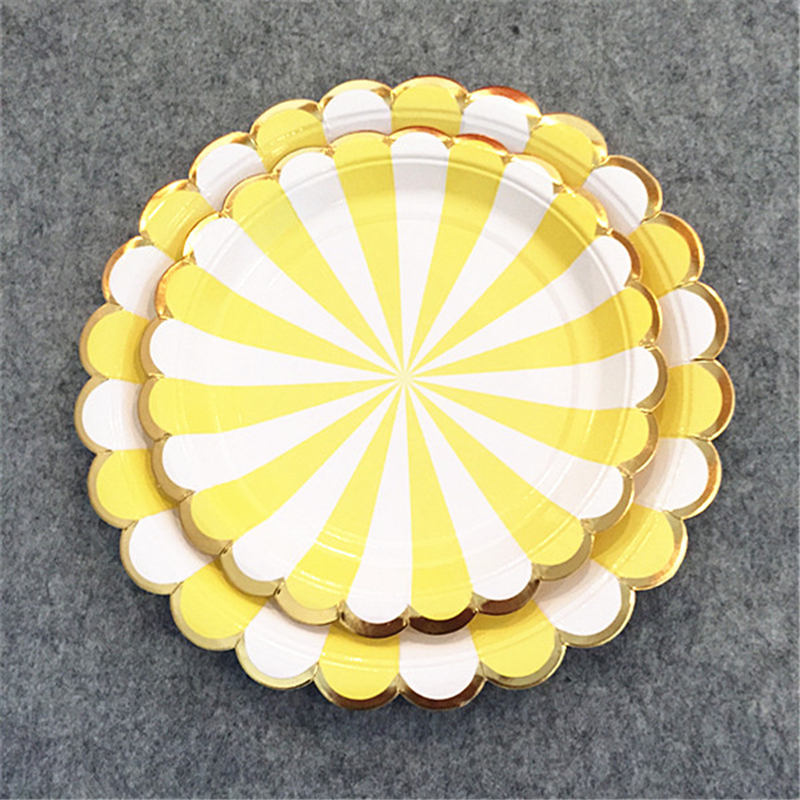 8 Sets Disposable Tableware Foil Gold with Yellow Stripe Paper Plates Cups Napkins Straws for Birthday Baby Shower Bridal Shower in Disposable Party Tableware from Home Garden