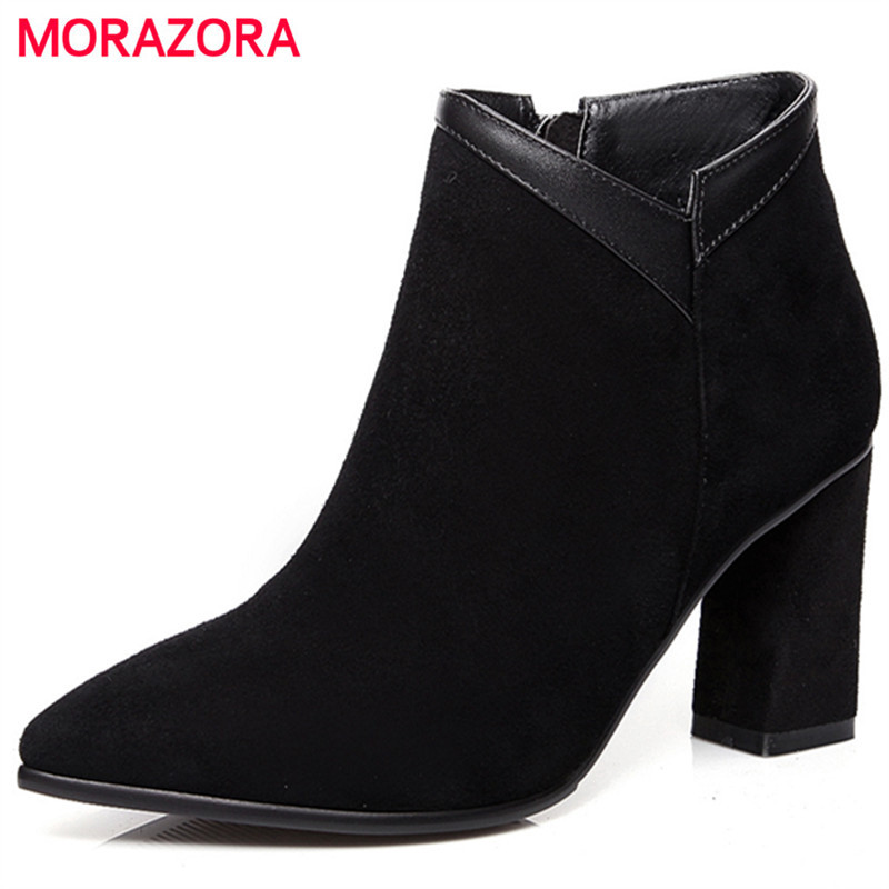 MORAZORA Pointed toe high heels shoes sexy lady ankle boots for women in spring autumn fashion womens boots top quality egonery quality pointed toe ankle thick high heels womens boots spring autumn suede nubuck zipper ladies shoes plus size