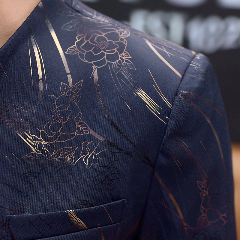Mens Floral Blazer Chinese Collar Suit Jacket Gold Print Club Party Prom Jacket Madarin Blazer Homme Slim Fit Plus Size 5xl 6xl