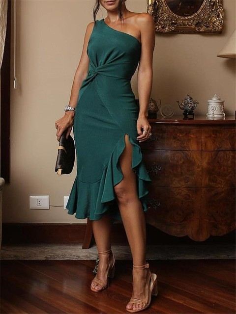 New Casual One Shoulder Scrunch Irregular Ruffles Hem Midi Bodycon Dress 2018 Summer Fashion Women Party Sexy Dress