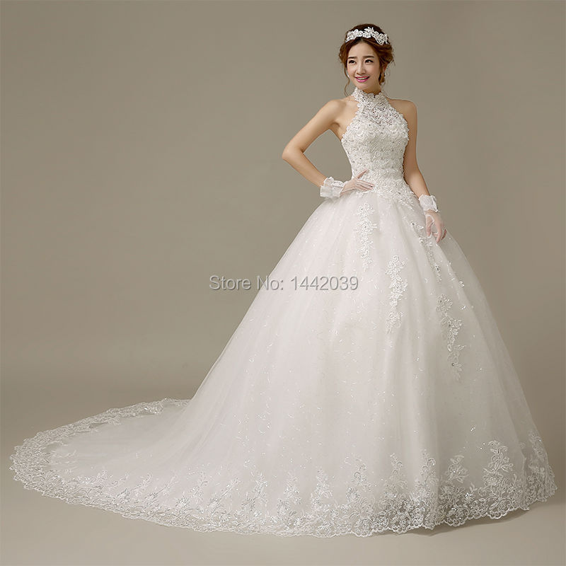Hot Sale Turtleneck Ball Gown Tulle Wedding Dress Diamonds And
