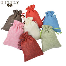 50pcs New Brand Vintage Natural Burlap Hessia Gift Candy Bags Wedding Party Favor Pouch Jute Gift Bags(China)