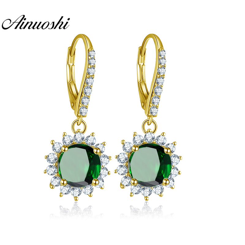 AINUOSHI 10K Solid Yellow Gold Drop Earring 4ct Round Cut Dark Green Color SONA Diamond Women Jewelry Gifts Click Back Earring
