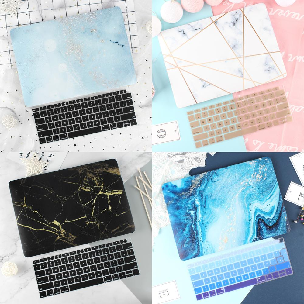 New Marble Case for Macbook Air Pro Retina 11 12 13.3 New Mac Book 13 15 Touch Bar/Touch ID 2019 2018 A1932 A2159+Keyboard Cover