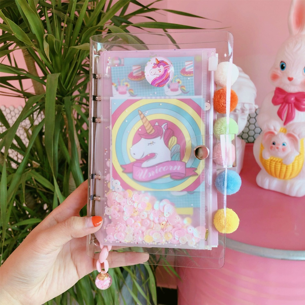 2019 Pretty Pink Bling Ins Popular Unicorn Loose-leaf Spiral Notebook Dairy Weekly Planner To Do It Note Girls Birthday Gift