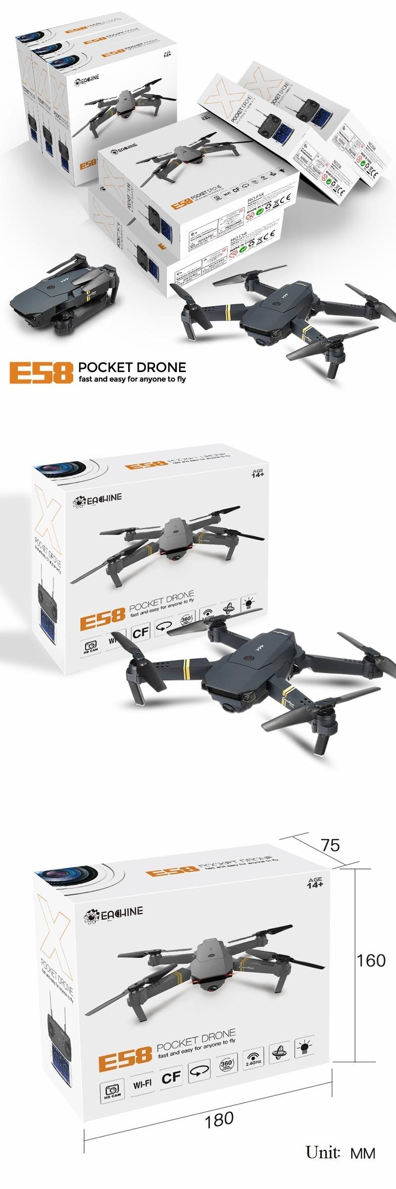 HD 1080P Foldable Quadcopter E58 Drone 19